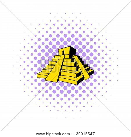 Mayan pyramid icon in comics style on a white background