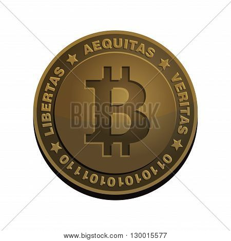 Bitcoin Coin. Bronze Realistic Sign. Vector Illustration