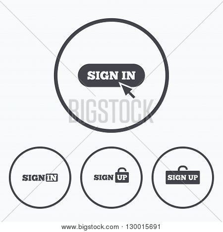 Sign in icons. Login with arrow, hand pointer symbols. Website or App navigation signs. Sign up locker. Icons in circles.