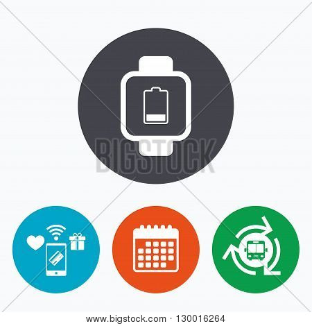 Smart watch sign icon. Wrist digital watch. Low battery energy symbol. Mobile payments, calendar and wifi icons. Bus shuttle.