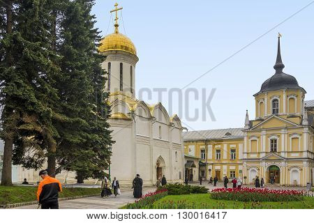 Sergiev Posad, Russia - May 23: This is the Trinity Cathedral and the sacristy in Trinity-Sergius Laurus of Russian Orthodox Patriarchate May 23, 2013 in Sergiev Posad, Russia.