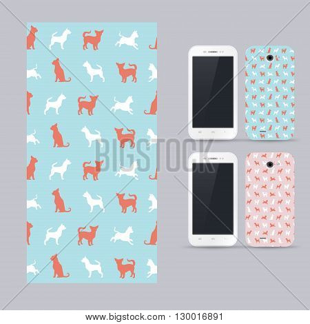Phone case design. Vector chihuahua small dog pattern. Animals silhouettes seamless background. Chihuahua dog breed. Outlines of pet. Vector illustration.