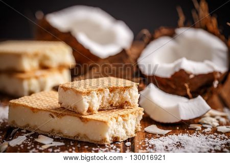 Wafers filling with homemade white chocolate, studio shot