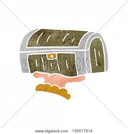 freehand retro cartoon treasure chest