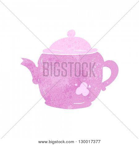 freehand retro cartoon teapot