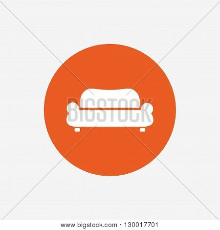 Comfortable sofa sign icon. Modern couch furniture symbol. Orange circle button with icon. Vector