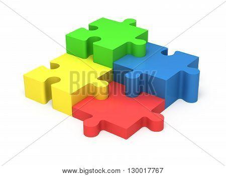 3D Puzzle Pieces. Concept Teamwork.