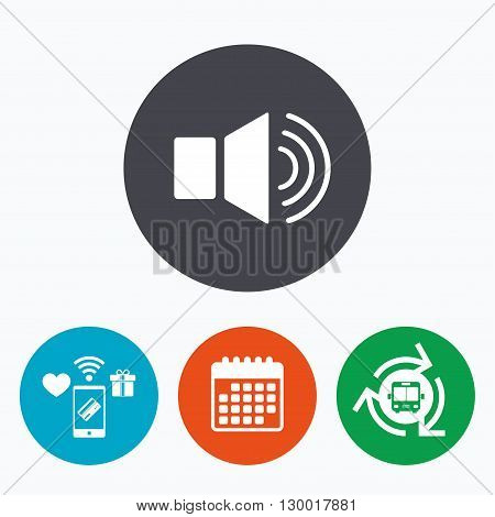 Speaker volume sign icon. Sound symbol. Mobile payments, calendar and wifi icons. Bus shuttle.