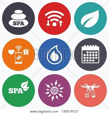 Wifi, mobile payments and drones icons. Spa stones icons. Water drop with leaf symbols. Natural tear sign. Calendar symbol.