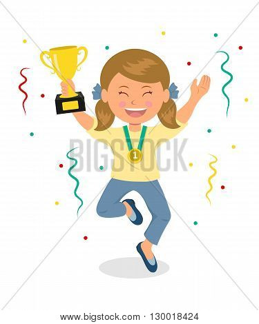 Winner. Girl celebrates victory. The girl keeps a cup winner and jumping for joy. Happy child with the cup winner and confetti.