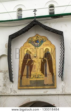 Sergiev Posad, Russia - May 23: This is the gate icon of St. Sergius and Nikon of Radonezh in Trinity-Sergius Laurus of Russian Orthodox Patriarchate May 23, 2013 in Sergiev Posad, Russia.