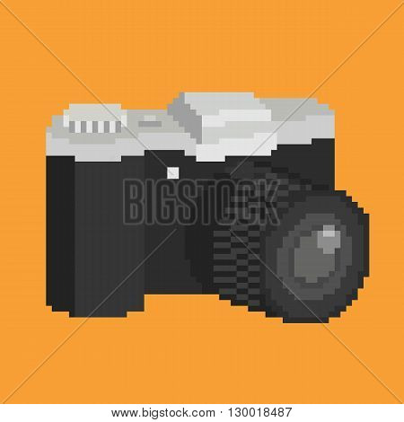 Pixel art of photographic camera with lens. Isolated vector icon illustration