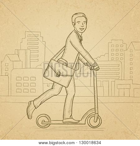 Man riding on scooter.