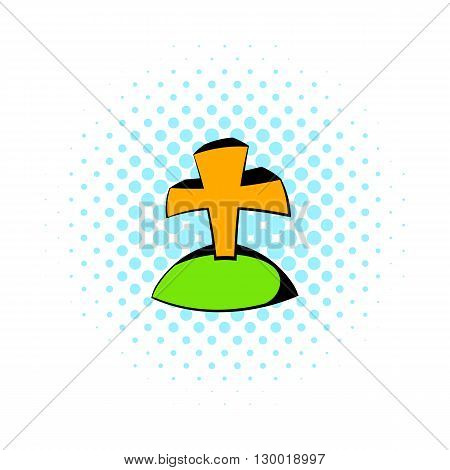 Grave icon in comics style isolated on white background