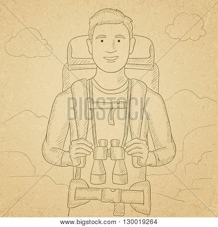 Cheerful backpacker with binoculars.