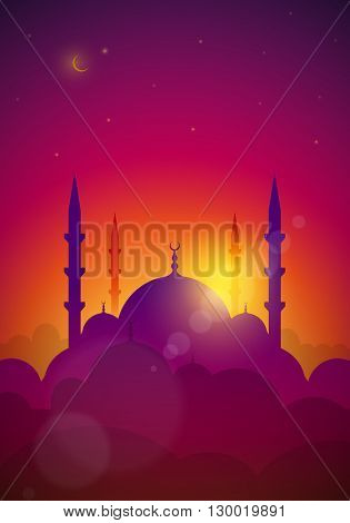 Vector landscape with mosque. Elements are layered separately in vector file.