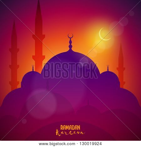 Vector illustration of mosque. Elements are layered separately in vector file.