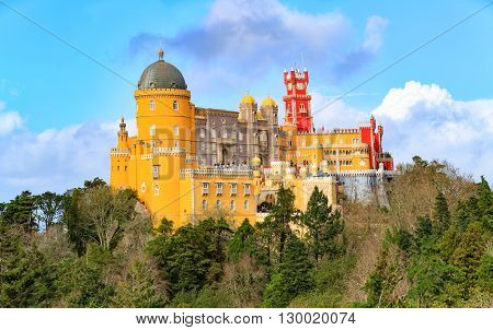 Aerial view of Palace da Pena - Sintra, Lisboa, Portugal - European travel