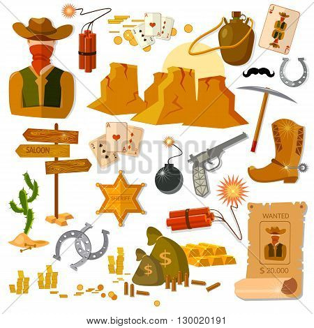 Wild West collection elements cowboy sheriff vector illustration