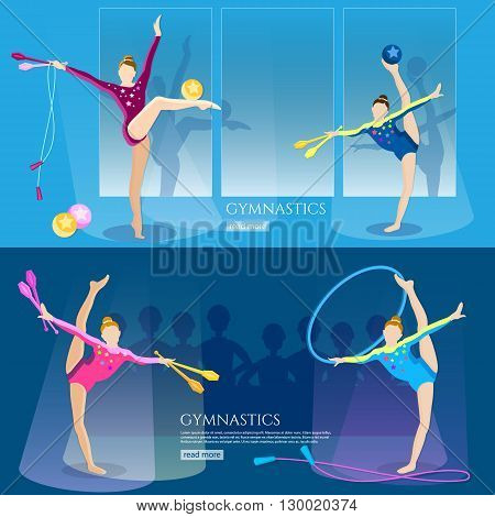 Gymnastics girls banner gymnasts artistic and rhythmic gymnast exercise rhythmic gymnastics championship vector illustration