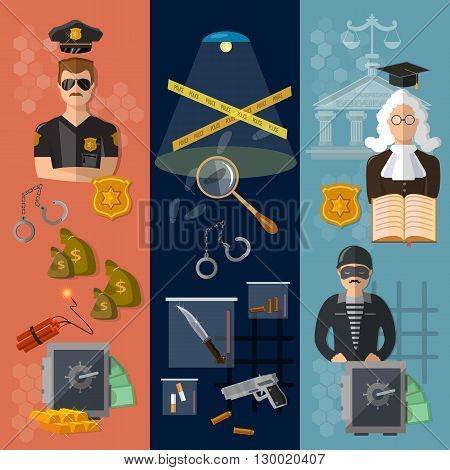 Justice system banner crime and punishment judge in court criminal trial vector illustration