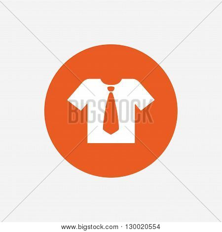Shirt with tie sign icon. Clothes with short sleeves symbol. Orange circle button with icon. Vector