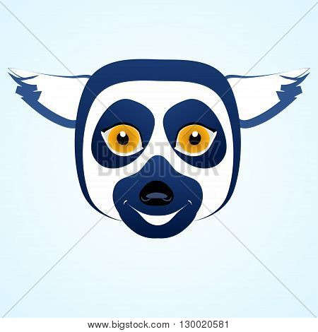 Vector cartoon icon lemur head. Blue colored