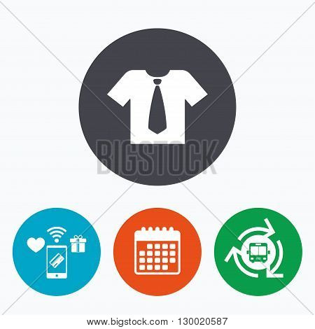 Shirt with tie sign icon. Clothes with short sleeves symbol. Mobile payments, calendar and wifi icons. Bus shuttle.