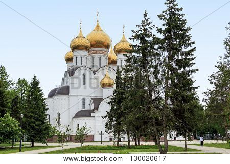 Yaroslavl, Russia - May 23: This is Assumption Cathedral rebuilt in the 21 th century on the site of the demolished in 1937 the ancient Orthodox church May 23, 2013 in Yaroslavl, Russia.