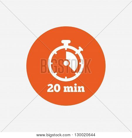 Timer sign icon. 20 minutes stopwatch symbol. Orange circle button with icon. Vector