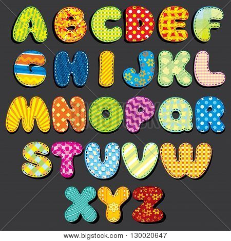 Stitched Fabric Alphabet. Fun Cartoon Letters Applique, Patches. Ready for Your Text and Design.