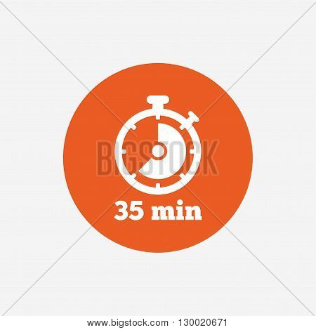 Timer sign icon. 35 minutes stopwatch symbol. Orange circle button with icon. Vector