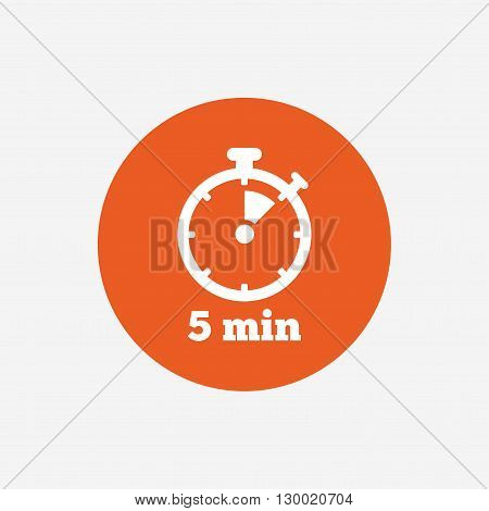 Timer sign icon. 5 minutes stopwatch symbol. Orange circle button with icon. Vector