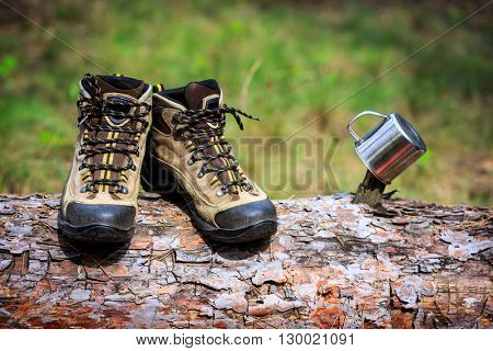 hikers tourist boots and steel cap on wooden log in forest