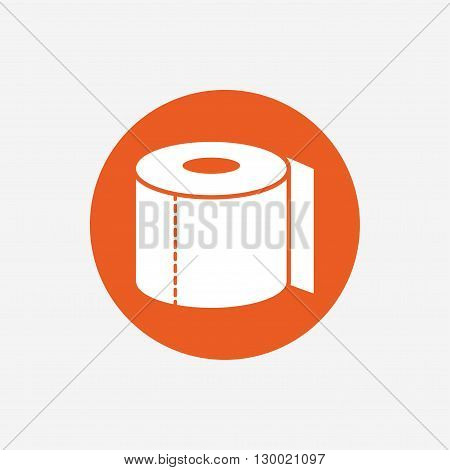Toilet paper sign icon. WC roll symbol. Orange circle button with icon. Vector