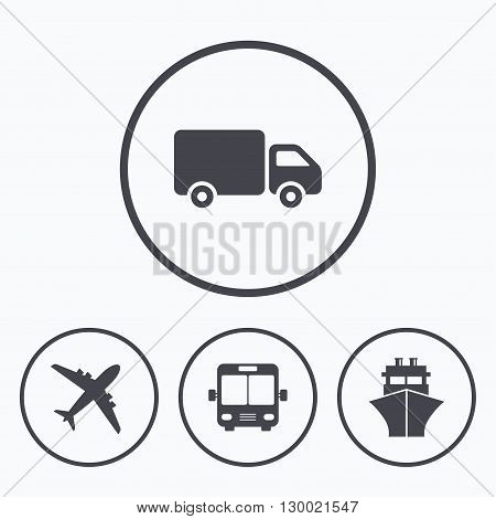 Transport icons. Truck, Airplane, Public bus and Ship signs. Shipping delivery symbol. Air mail delivery sign. Icons in circles.