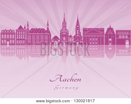 Aachen skyline in purple radiant orchid in editable vector file