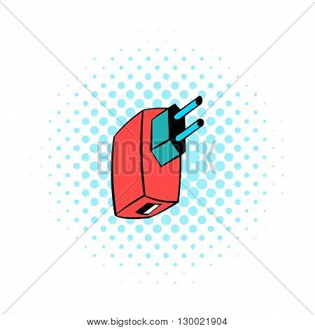 Electric power adapter icon in comics style isolated on white background