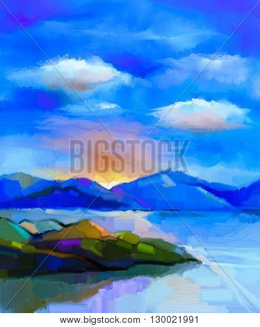 Abstract colorful oil painting landscape on canvas. Semi- abstract image of hill and sea with sunlight and cloud blue sky. Spring season nature background