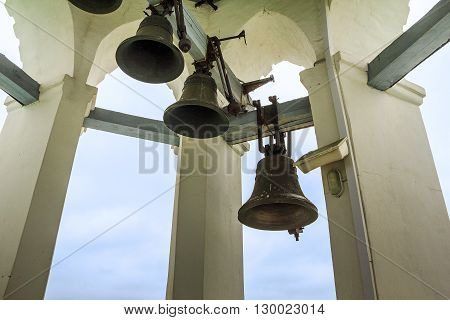 Yaroslavl, Russia - May 23: These are bells on the belfry of the Holy Transfiguration Monastery of the 16th century May 23, 2013 in Yaroslavl, Russia.