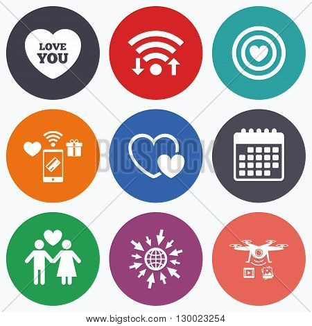 Wifi, mobile payments and drones icons. Valentine day love icons. Target aim with heart symbol. Couple lovers sign. Calendar symbol.