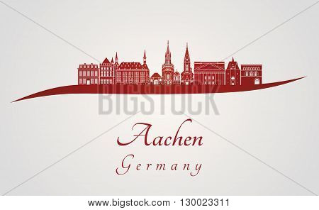 Aachen skyline in red and gray background in editable vector file
