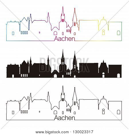 Aachen skyline linear style with rainbow in editable vector file