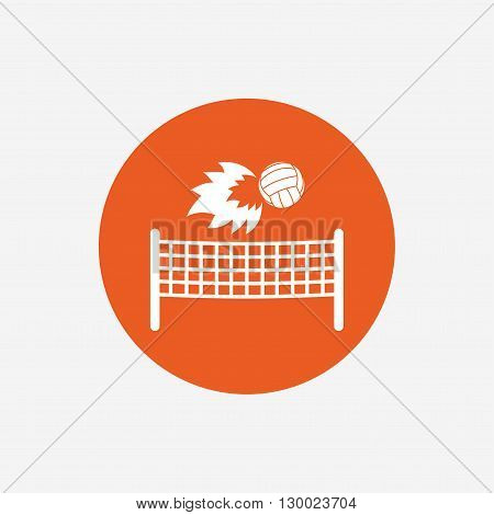 Volleyball net with fireball sign icon. Beach sport symbol. Orange circle button with icon. Vector