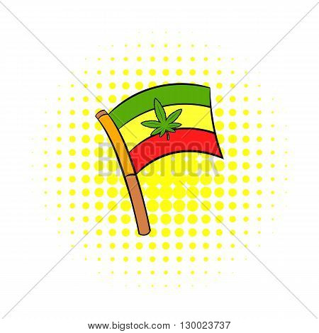 Cannabis leaf on rastafarian flag icon in comics style on a white background