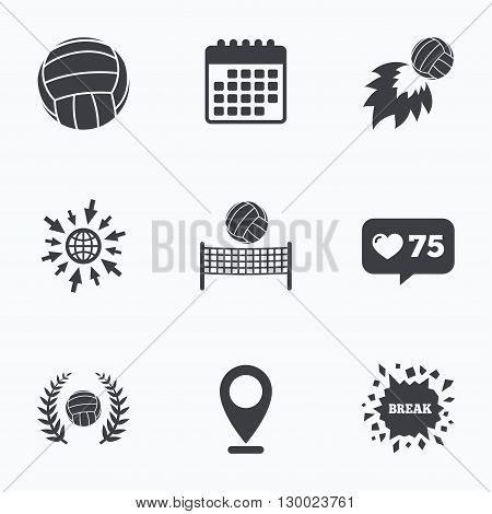 Calendar, like counter and go to web icons. Volleyball and net icons. Winner award laurel wreath symbols. Fireball and beach sport symbol. Location pointer.