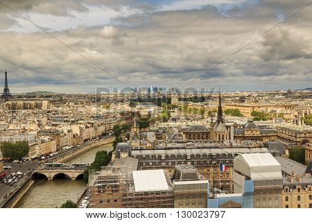 Paris, France - May 13: This is panoramic view of Paris from the heights of Notre-Dame de Paris May 13, 2013 in Paris, France.
