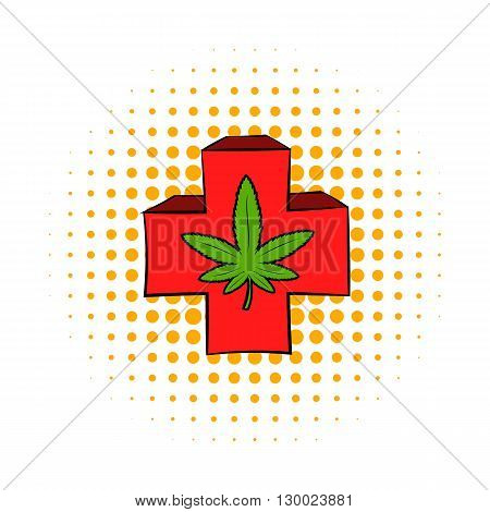 Marijuana leaf on a red cross icon in comics style on a white background