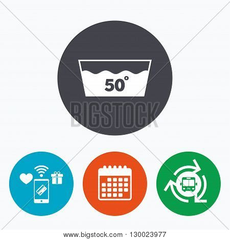 Wash icon. Machine washable at 50 degrees symbol. Mobile payments, calendar and wifi icons. Bus shuttle.