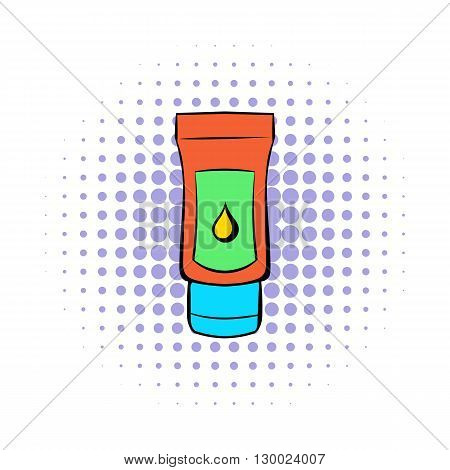 Tube of lubricant gel icon in comics style on a white background